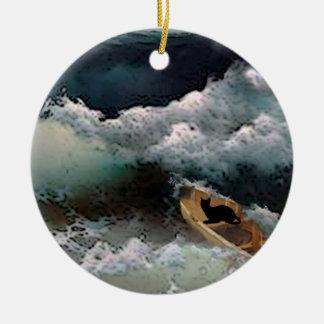 Yeshuas Katze: Sturm-Wellen Rundes Keramik Ornament