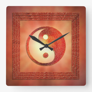 Yin und Yang Quadratische Wanduhr