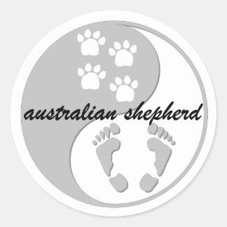 yin Yang-Australierschäfer Runder Aufkleber