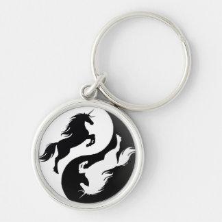 Yin Yang Einhorn-Schlüsselkette Silberfarbener Runder Schlüsselanhänger