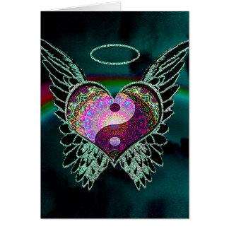 Yin Yang, Engels-Flügel und Herz Karte