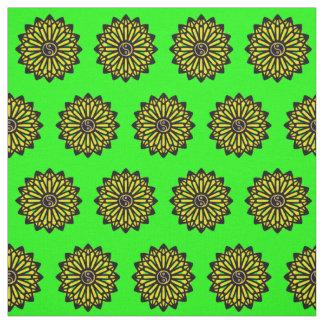 Yin Yang Gewebe - grün, gelb, Schwarzes Stoff