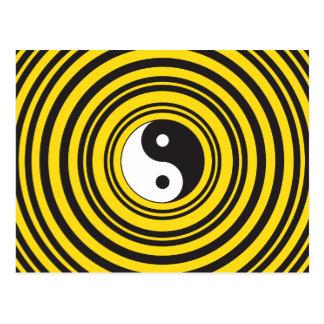 Yin Yang Taijitu Symbol Gelb-Schwarz-Kräuselungen Postkarte