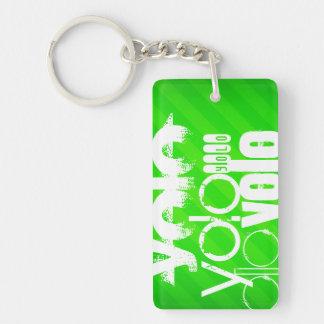 Yolo; Grüne Neonstreifen Beidseitiger Rechteckiger Acryl Schlüsselanhänger