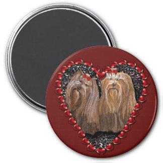 Yorkie Liebe-Herz-Magnet Runder Magnet 7,6 Cm