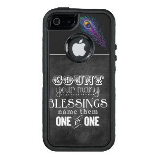Zählen Sie Ihren Segen-Pfau-Otter TELEFON-KASTEN OtterBox iPhone 5/5s/SE Hülle
