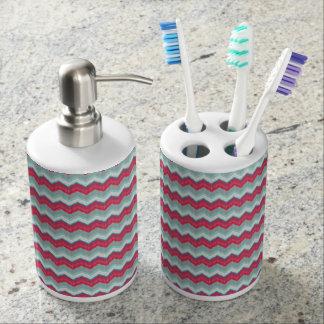 Zahnbürste-Halter-u. Seifen-Zufuhr-Pink-Zickzack Badezimmer-Set