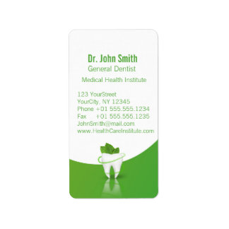 Zahnmedizinischer medizinischer tadelloser adressaufkleber