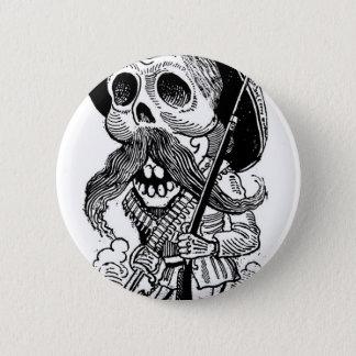 Zapatista Calavera. c. frühes 1900's. Mexiko Runder Button 5,1 Cm