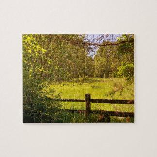 Zaun an der Eichen-Unterseite Foto Puzzle