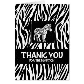 """Zebra-Druck 4"""""""" Spende x5.6 danken Ihnen Notecard Mitteilungskarte"""