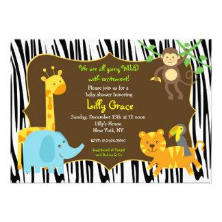 Zebra-Druck-Dschungel-Safari-Tier-Babyparty Einladungskarten