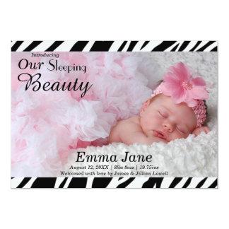 Zebra-Druck-Foto - Geburts-Mitteilung 12,7 X 17,8 Cm Einladungskarte