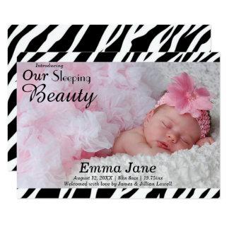 Zebra-Druck-Foto - Mitteilung der Geburts-3x5 8,9 X 12,7 Cm Einladungskarte