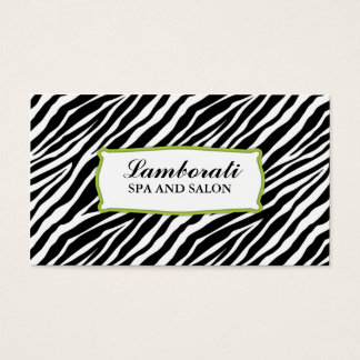 Zebra-Druck-Haar-Stylist-Friseur-Salon-Grün Visitenkarten