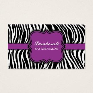 Zebra-Druck-Haar-Stylist-Friseur-Salon lila Visitenkarten
