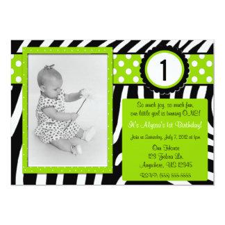 Zebra-Druck-Limone grüne Mädchen-Geburtstags-Einla Individuelle Einladungskarte