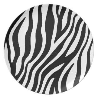 Zebra-Druck-Schwarzweiss-Streifen-Muster Melaminteller
