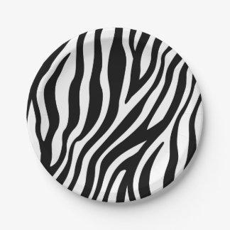 Zebra-Druck-Schwarzweiss-Streifen-Muster Pappteller