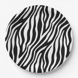 Zebra-Druck-Schwarzweiss-Streifen-Muster Pappteller 22,9 Cm