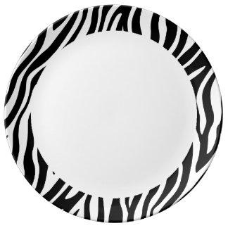 Zebra-Druck-Schwarzweiss-Streifen-Muster Teller Aus Porzellan
