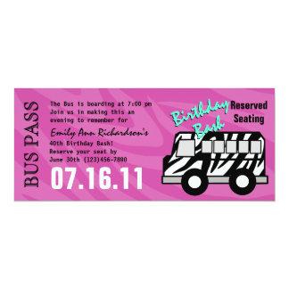 Zebra-Streifen-Bus-Durchlauf-Geburtstags-Party 10,2 X 23,5 Cm Einladungskarte