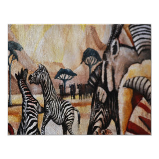 Zebra-Wandgemälde 10,8 X 14 Cm Einladungskarte