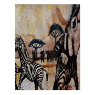 Zebra-Wandgemälde Postkarte
