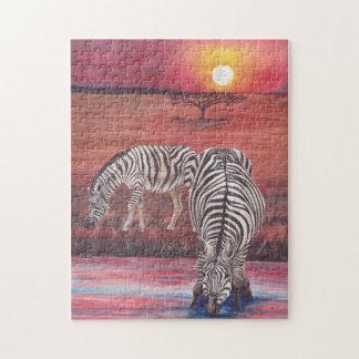 Zebras am Sonnenuntergang-Puzzlespiel Puzzle