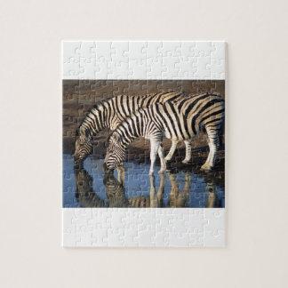 Zebras, die am Bewässerungs-Loch trinken Puzzle