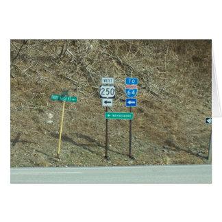 Zeichen auf der Straße in Virginia Karte