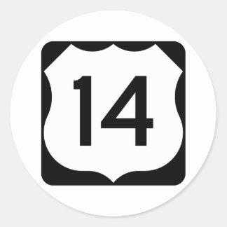 Zeichen US-Weg-14 Runder Aufkleber