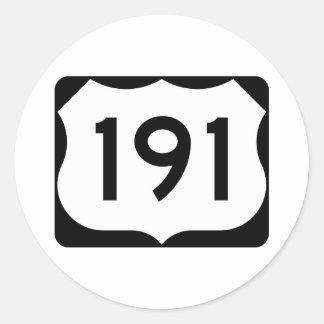 Zeichen US-Weg-191 Runder Aufkleber