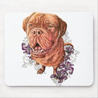 Zeichnen der Brownmastiff-Hundekunst und -lilien Mauspads