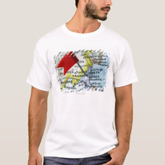 Zeichnen Sie das Button auf, das auf Nordkorea auf T-Shirt