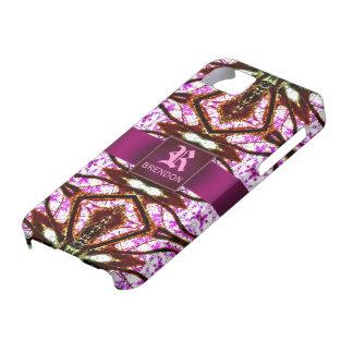 Zeitalter-rosa Batik-Muster-Gewohnheits-Monogramm iPhone 5 Etuis