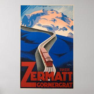 Zermatt die Schweiz Vintages Reise-Plakat Poster