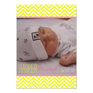 Zickzack Baby-Mädchen-Geburts-Mitteilung 12,7 X 17,8 Cm Einladungskarte