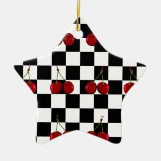 ZIELFLAGGE-KIRSCHmuster Keramik Stern-Ornament