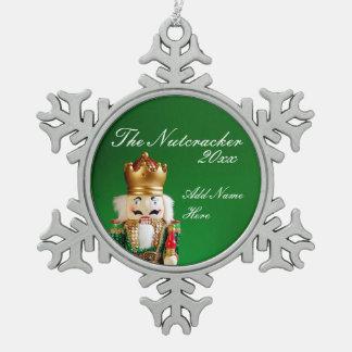 Zinn-Nussknacker-Verzierung - individueller Name Schneeflocken Zinn-Ornament
