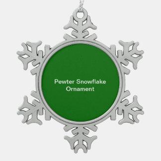 Zinn-Schneeflocke-Verzierungs-Grün-Hintergrund Schneeflocken Zinn-Ornament