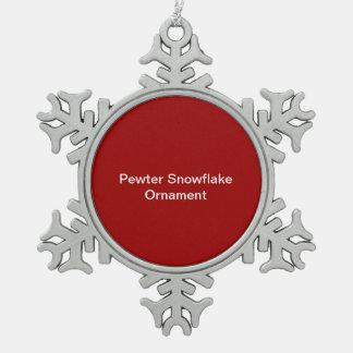 Zinn-Schneeflocke-Verzierungs-Rot-Hintergrund Schneeflocken Zinn-Ornament
