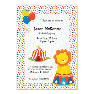 Zirkus 12,7 X 17,8 Cm Einladungskarte