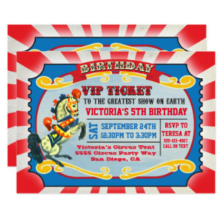 Zirkus-Geburtstags-Party VIP-Karte 12,7 X 17,8 Cm Einladungskarte