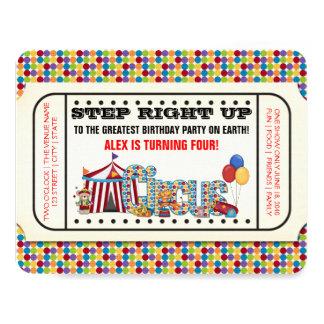 Zirkus-Karten-Geburtstags-Party 10,8 X 14 Cm Einladungskarte