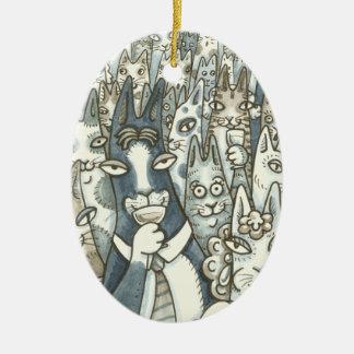 Zischen N Fitz CAT-PARTY-WEIHNACHTSverzierung Oval Keramik Ornament