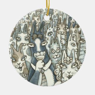 Zischen N Fitz CAT-PARTY-WEIHNACHTSverzierung rund Keramik Ornament