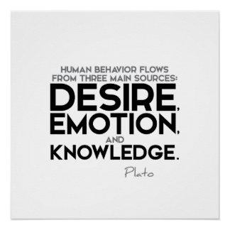 ZITATE: Plato - Wunsch, Gefühl, Wissen Poster