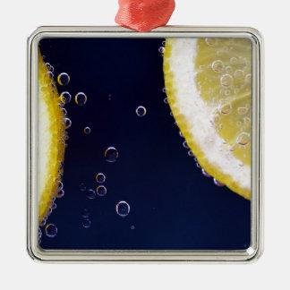Zitrone Quadratisches Silberfarbenes Ornament