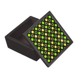 Zitrone und Limone Ringe und Polka-Punkte durch Schachtel